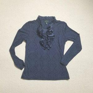 LRL navy ruffle front knit shirt size M
